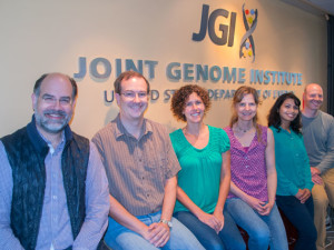 From left to right, several of the authors of the ProDeGe paper published in The ISME Journal: Nikos Kyrpides, Scott Clingenpeel, Kristin Tenessen, Tanja Woyke, Amrita Pati, and Evan Andersen.