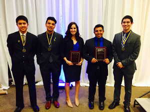 Bryan Rangel Alvarez (second from left) and Cristhian Gutierrez Huerta (second from right) were among the 5 UC Merced CAMP awardees.