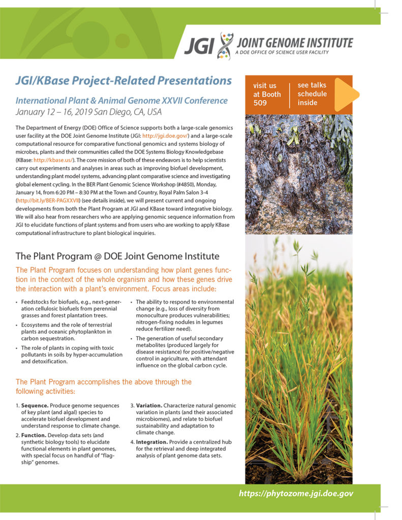 cover of JGI brochure for PAG XXVII