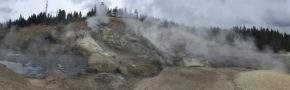 Panorama of Washburn Hot Springs (Yellowstone National Park). Sediments from the upper pool were sampled and subjected to DNA sequencing by the DOE-Joint Genome Institute (YNP Research Permit: YELL-2012-SCI-05068, PI: W. Inskeep. Image: R. Hatzenpichler).